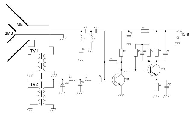 Схема подключения платы усилителя антенны